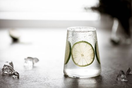 a glass of fresh drinking water and a lime. or Alcoholic Gin and Tonic with a Lime