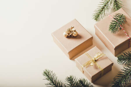 Brown gift boxes. Christmas presents with Christmas tree. copy space