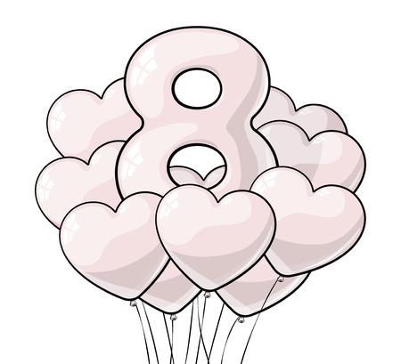 Globos blancos en forma de corazón. Día Internacional de la Mujer. Bolas para decoración de fondo y felicitaciones. 8 de marzo Foto de archivo - 72767326