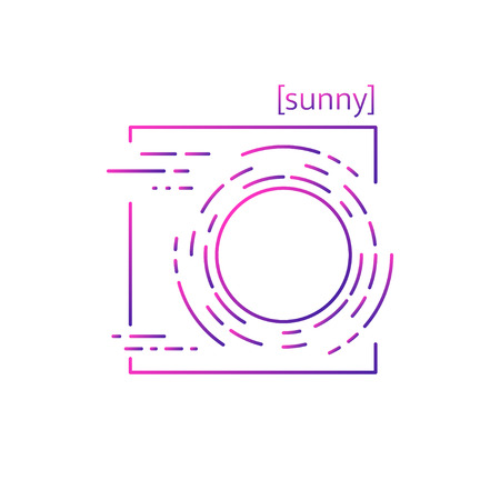 Line vector icons with symbol weather. Isolated sun icon. Clear sunny weather. Suitable for website design and mobile app