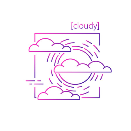 line vector icons with symbol weather. Isolated sun and clouds icon. Cloudy weather is cool. Suitable for website design and mobile app