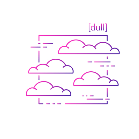 line vector icons with symbol weather. Isolated clouds icon. Cloudy weather is cool. Suitable for website design and mobile app