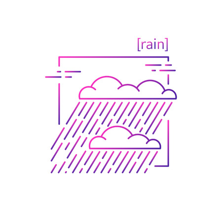 line vector icons with symbol weather. Isolated Clouds with rain icon. Rainy weather with heavy rain. Suitable for website design and mobile app Иллюстрация