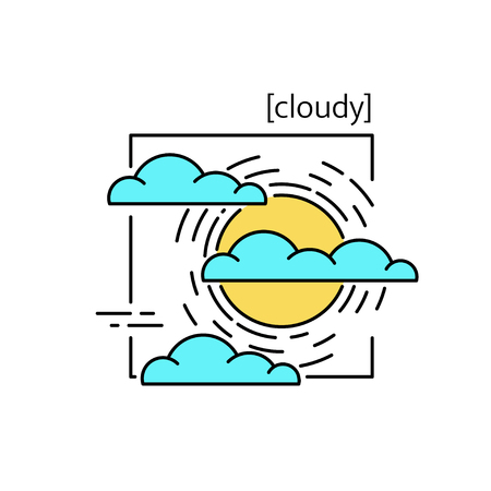 Line vector icons with symbol weather. Isolated sun and clouds icon. Cloudy weather is cool. Suitable for website design and mobile app Ilustração