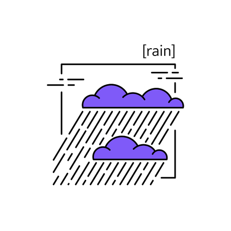 Isolated Clouds with rain icon. Rainy weather with heavy rain. Suitable for website design and mobile app