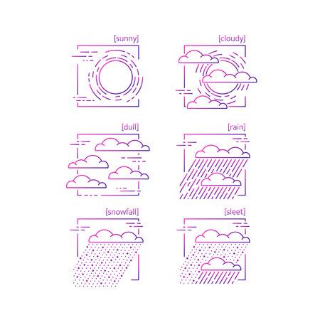 Colección de iconos de vector de línea con símbolos del clima. Adecuado para el diseño de sitios web y aplicaciones móviles. Foto de archivo - 72737603