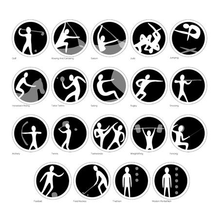 Vector set sport iconen. Een verzameling ronde tekens. Verschillende sporten in zwart-wit