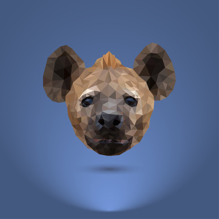 Low-poly predator. The head of a hyena. Suitable for printing on clothing and t-shirts Illustration