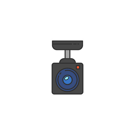 shadowing: Surveillance Camera vector flat icon. Sign for infographic, website or app.