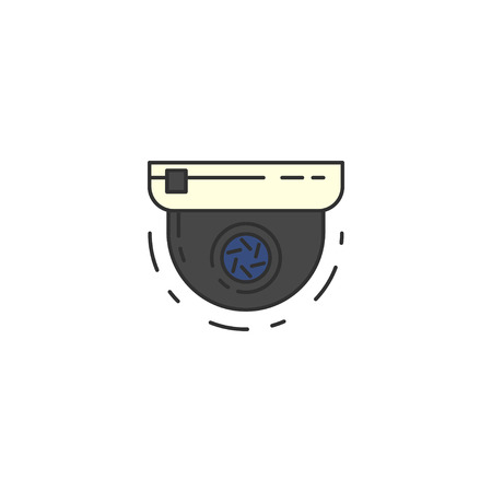 shadowing: Round Surveillance Camera vector flat icon. Sign for infographic, website or app.