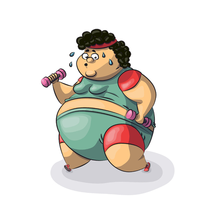 Fat woman goes in for sports. Vector illustration. Isolated on white background. Obese woman run. Girl working out in sweat to get rid of fat belly. Modern vector illustration.