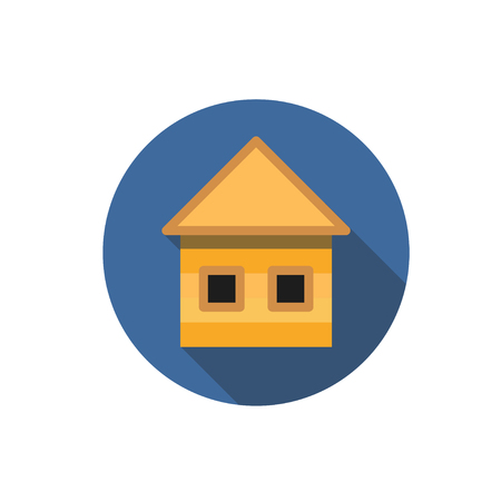 Flat house icon. Question with a long shadow. Icon in the circle.
