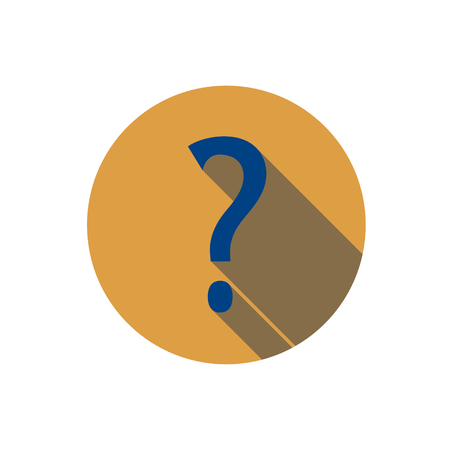 Flat question mark icon. Question with a long shadow. Icon in the circle.