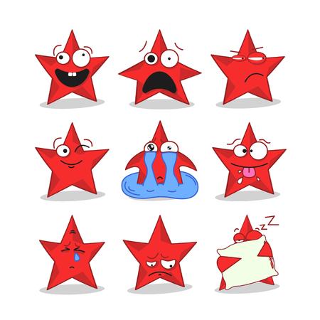 Emoji emoticon face in stars with a lot of variation. Cartoon stars Illustration