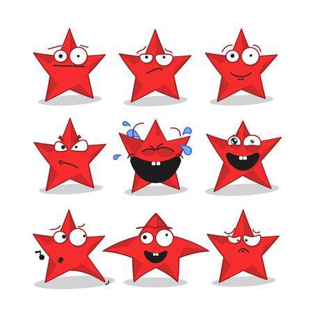 joking: Emoji emoticon face in stars with a lot of variation. Cartoon stars Illustration
