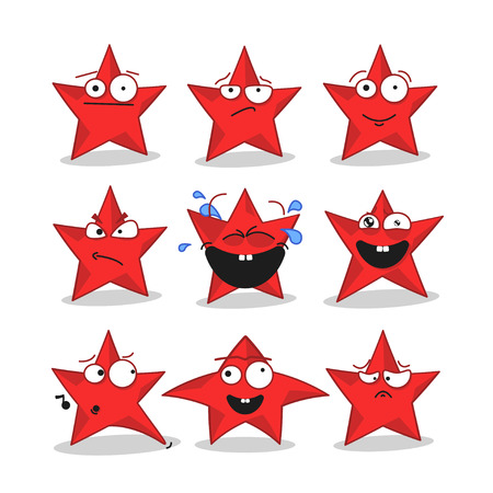 Emoji emoticon face in stars with a lot of variation. Cartoon stars Illustration