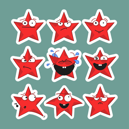 Emoji emoticon face in stars with a lot of variation. Cartoon stars. Emoji stickers