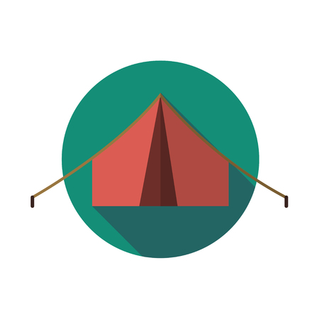 Icon tent. Camping. Deployed tent on traveling. Summer rest. Leisure. Place to sleep Illustration