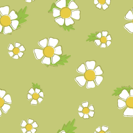 Vector background of chamomiles. Seamless pattern of white flowers on a green background. Suitable for printing on clothing and bedding Illustration