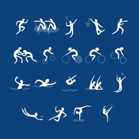 Vector set sport iconen. Verzameling van witte tekens. Verschillende soorten sport op een blauwe achtergrond