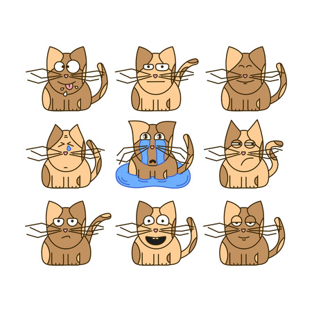 Set of cat emoticons. Cute cat emoji in cartoon style. Flat emoji isolated on white background.