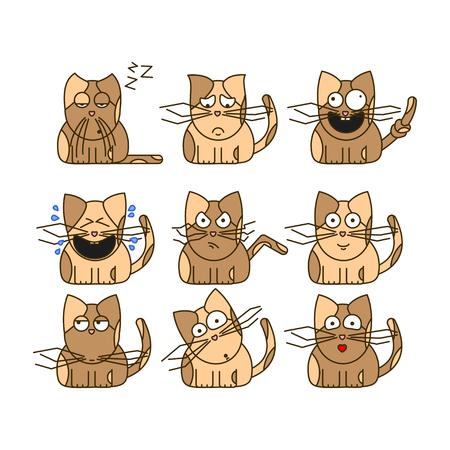 Set of cat emoticons. Cute cat emoji in cartoon style. Flat emoji isolated on white background.