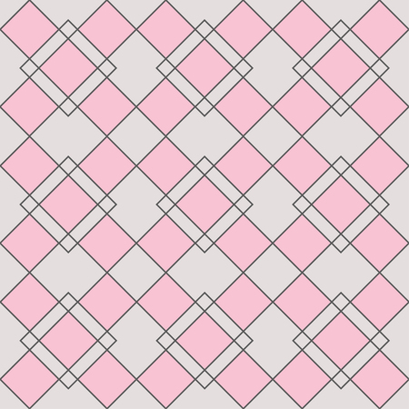 Harlequin geometric seamless patterns. Grey grid pattern with pink rhomboids. Vector background in abstract style Illustration