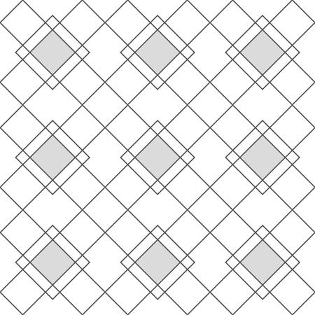 Arlecchino motivi geometrici senza soluzione di continuità. Griglia grigia con rombi grigi. Sfondo vettoriale in stile astratto