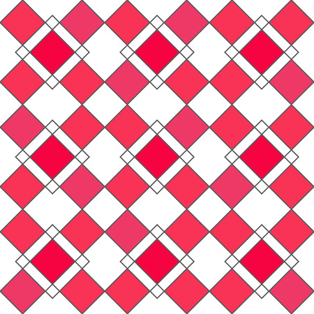 Harlequin geometric seamless patterns. Grey grid pattern with red rhomboids. Vector background in retro abstract style