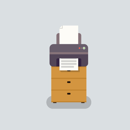 printout: office printer vector in flat stile. Office equipment on curbstone. Printer for printing documents.