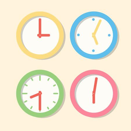 コレクション壁時計パターン。平面ベクトルのアイコンを時計します。マルチカラー営業時間のセット 写真素材 - 83106002