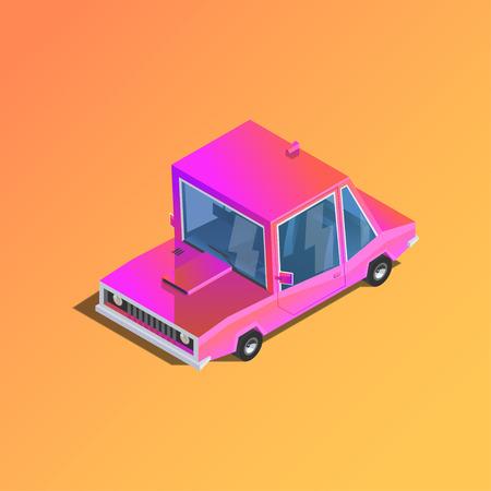 車のアイコン。平らな 3 d 等角車。ピンクのセダン。漫画のスタイルで都市の車。