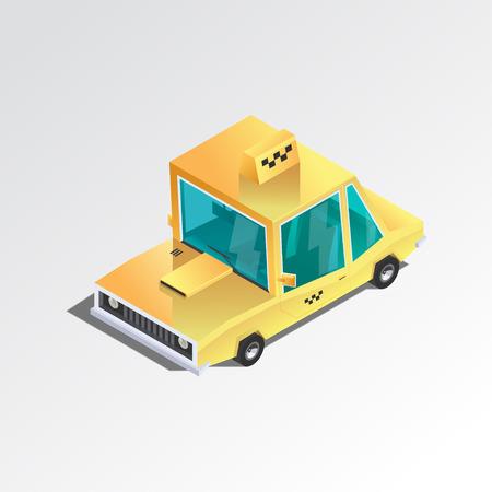 車アイコン。平らな 3 d アイソ メトリック タクシー。黄色のセダン。漫画のスタイルで都市の車。