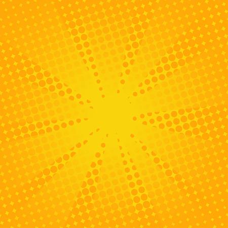 Retro rays comic yellow background. Gradient halftone pop art style