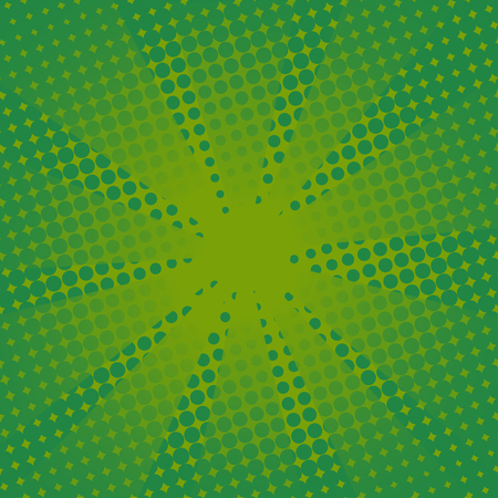 Retro rays comic green background. Gradient halftone pop art style