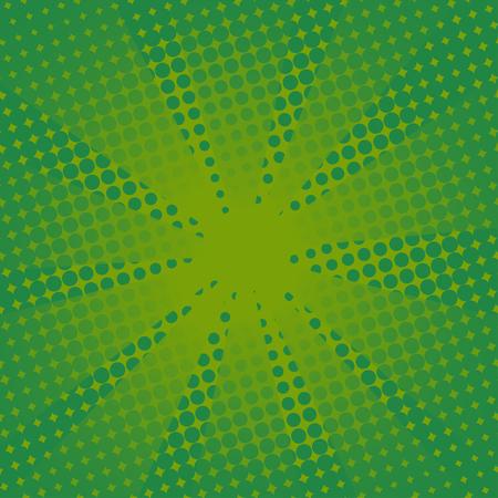 レトロな光線コミック緑の背景。グラデーション ハーフトーン ポップなアート スタイル