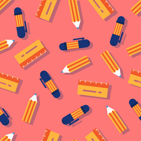 Pencil, pen, ruler. Seamless pattern for a postcard or poster. Congratulation for schoolchildren. Modern and fresh decoration for the holiday on a pink background
