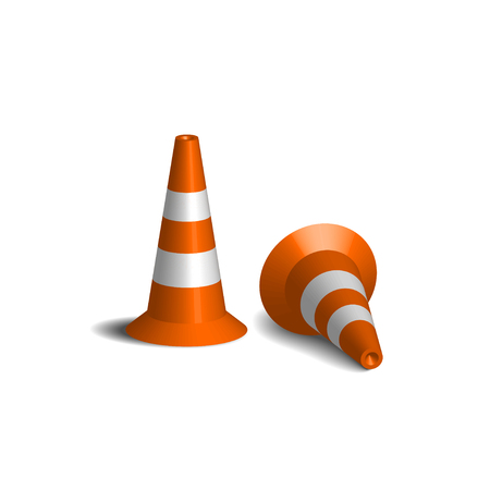 Realistic vector traffic cones. Two of orange road cones with white stripes. 3d rendering isolated on the white background. Traffic signs.