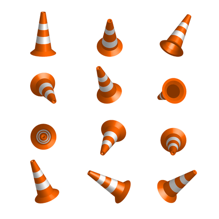 Realistic vector traffic cones. Set of orange road cones with stripes. 3d rendering isolated on the white background. Traffic signs. Фото со стока