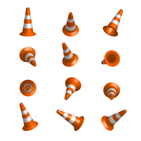 Realistic vector traffic cones. Set of orange road cones with stripes. 3d rendering isolated on the white background. Traffic signs. Иллюстрация