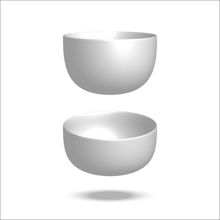 Realistic vector illustration plate. Empty bowl. Isolated on white background. View from above. Set of empty white plates and bowls. Kitchen utensils. 3d mock up Illustration