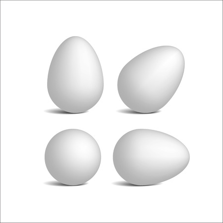 Set vector realistic white eggs. Isolated eggs on white background. Dietary meal. Easter symbol. Vector illustration. Stock Illustration - 89787800