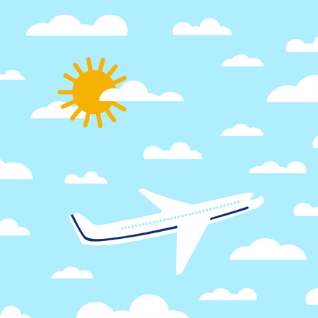 Flat airplane illustration. View of a flying aircraft in sky. Passenger plane on a background of clouds and a bright sky