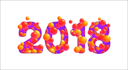 Vector 2018 Happy New Year isolated on white