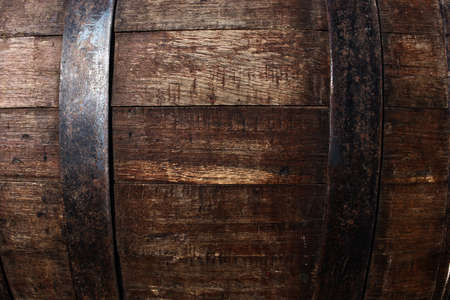 Vintage texture of oak barrel closeup Stock Photo