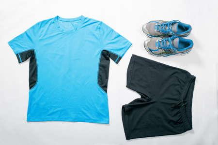 menswear: Menswear for running, flat lay Stock Photo