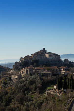 rieti: View of the village of Cottanello lying on a top of a hill in the province of Rieti Stock Photo