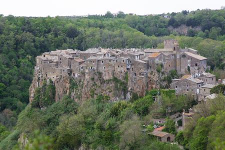 lazio: Panorama of the village of Calcata nel Lazio in Italy