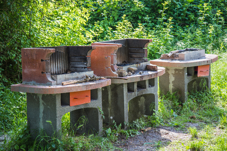Three concrete without barbeque grills to cook meat Stock Photo