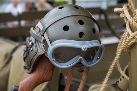 Military WWII Aviator helmet Stock Photo